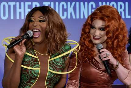 NEW YORK, NY - MAY 19: BeBe Zahara Benet (L) and Jinkx speak onstage at Vulture Festival presented by AT&T: Drag Race: Ten Seasons Later and Taking over the Mother Tucking World at Milk Studios on May 19, 2018 in New York City. (Photo by Bryan Bedder/Getty Images for Vulture Festival)