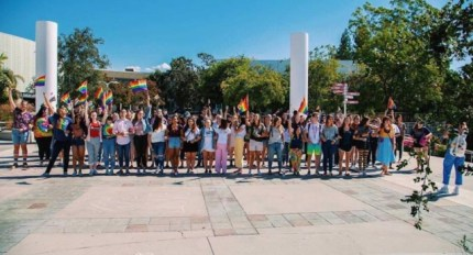 Students protest after Azusa Pacific University re-introduces a ban on LGBT+ relationships.