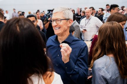 Apple CEO Tim Cook attends a product launch event on September 12, 2018, in Cupertino, California. - New iPhones set to be unveiled Wednesday offer Apple a chance for fresh momentum in a sputtering smartphone market as the California tech giant moves into new products and services to diversify.Apple was expected to introduce three new iPhone models at its media event at its Cupertino campus, notably seeking to strengthen its position in the premium smartphone market a year after launching its $1,000 iPhone X. (Photo by NOAH BERGER / AFP)        (Photo credit should read NOAH BERGER/AFP/Getty Images)