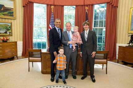 Gay democrat politician Jared Polis and his family visit the Oval Office. (Jared Polis/Facebook)