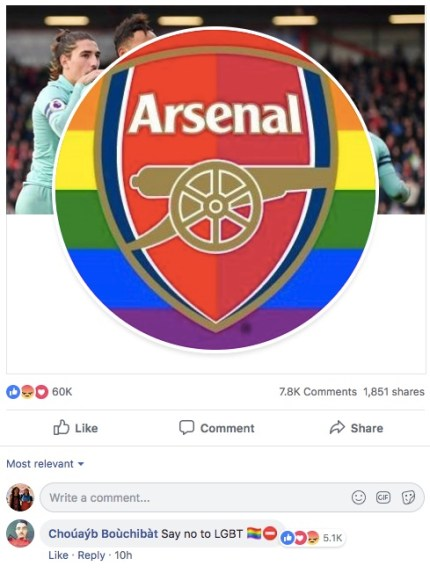 A Facebook user leaves a homophobic comment on Arsenal's Facebook page