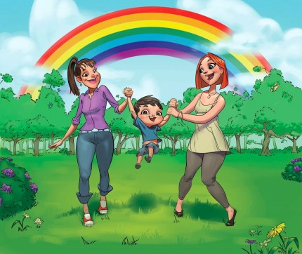 Picture from a Croatian book teaching LGBT+ issues such as same-sex parenting.