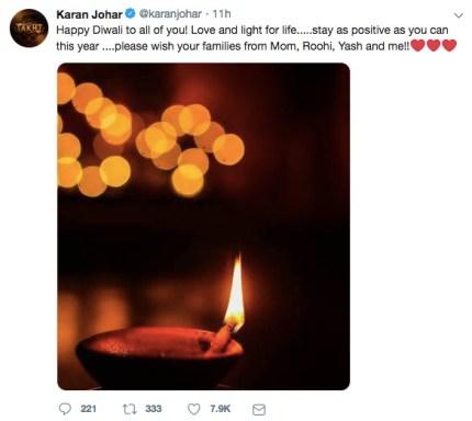 Bollywood star Karan Johar marks first the first Diwali since gay sex was legalised in India.