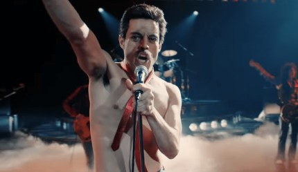 A shirtless Rami Malek as Freddie Mercury in the biopic Bohemian Rhapsody