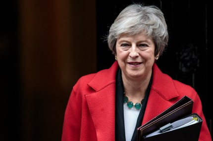 British Prime Minister Theresa May leaves Number 10 Downing Street.