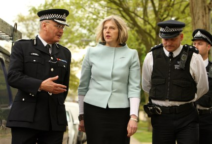 Home Secretary Prime Minister Theresa May with police