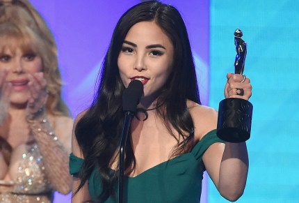 Anna Akana accepts the Acting in a Drama award for 'Youth & Consequences' onstage during The 8th Annual Streamy Awards