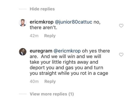 Gay Trump fan Bryan Eure responding to Eric Michael Krop on Instagram