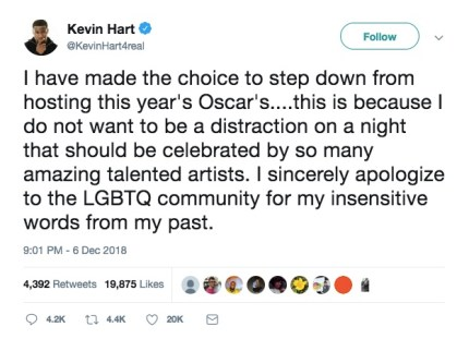 Kevin Hart about homophobia on Twitter. Hart has apologised for historic homophobic tweets and stepped down from hosting the Oscars