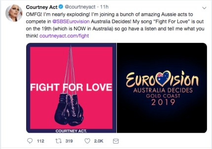 Courtney Act announces her newly-released song Fight for Love as part of her bid to represent Australia at Eurovision 2019.