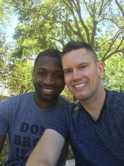 A photo of gay Florida couple Bryan Woodington and Kenneth Woodington, whose kiss appeared on WJXT