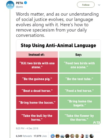 "PETA's list of ""unacceptable"" animal-based idioms, which it compared to homophobia"