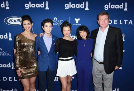 Lilain Bowden, Joshua Rush, Peyton Elizabeth Lee, Lauren Tom and Stoney Westmoreland attend Rising Stars at the GLAAD Media Awards Los Angeles at The Beverly Hilton Hotel on April 11, 2018 in Beverly Hills, California.