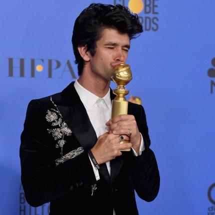 Ben Whishaw kissing his award at the Golden Globes