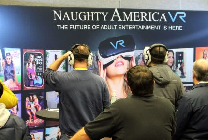 Adult video company Naughty America provides a gander at virtual reality content during the Consumer Electronics Show (CES) on January 8, 2017 in Las Vegas. where Lora DiCarlo's Osé was prevented from exhibiting in 2019.