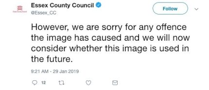 Essex County Council apologised on Twitter for the depiction of transgender identity,