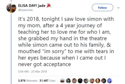 """Tweet reading: """"She grabbed my hand in the theatre while simon came out to his family, & mouthed 'I'm sorry' to me with tears in her eyes because when I came out I never got acceptance"""""""
