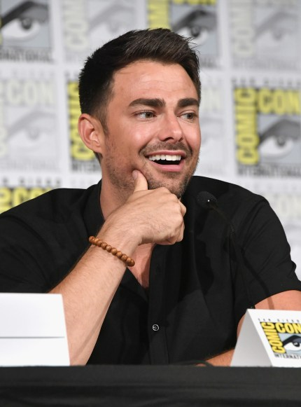 """Jonathan Bennett speaks onstage at """"The Last Sharknado: Its About Time"""" panel during Comic-Con International 2018 at San Diego Convention Center on July 20, 2018 in San Diego, California"""