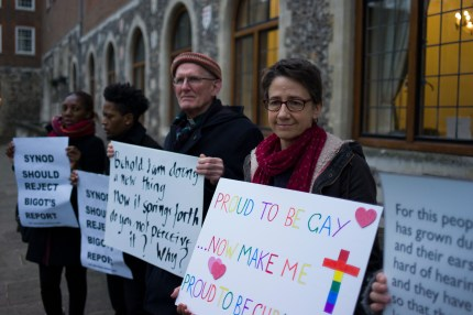 Members of the LGBT community stage a peaceful protest outside Church House on February 15, 2017 in London, England, where Church of England members were meeting
