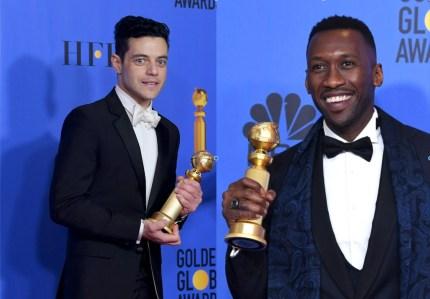 Best Actor in a Motion Picture Drama for 'Bohemian Rhapsody' winner Rami Malek (L) and Best Actor in a Supporting Role in any Motion Picture for 'The Green Book' winner Mahershala Ali (R).