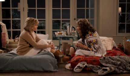 The titular characters from Grace and Frankie talking to each other during the show's fifth season