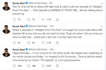 Kevin Hart promoted the radio show appearance on social media.
