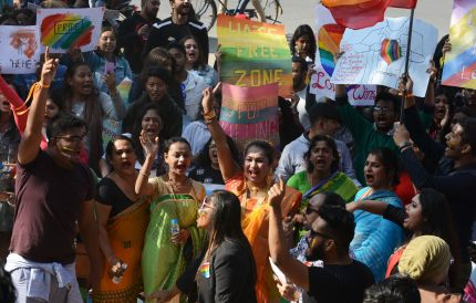 Activists and members of the lesbian, gay, bisexual, and transgender (LGBT) community take part in a pride parade in Siliguri, India on December 30, 2018
