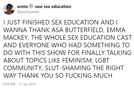 Sex Education was also praised for talking about feminism and slut-shaming. (Twitter/@gravityparker)