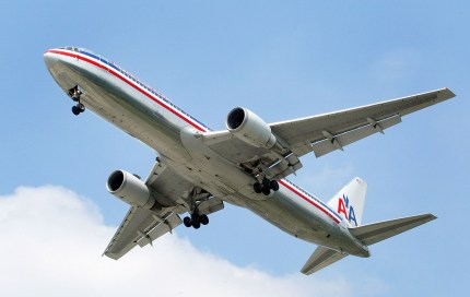 An American Airlines jet is seen in the air preparing to land September 3, 2004 at Chicago's O'Hare International Airport in Rosemont, Illinois.