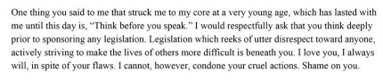 A paragraph of the letter Rep Ron Highland received from his lgbt daughter.
