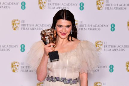 British actress Rachel Weisz poses with the award for a Supporting Actress for her work on the film 'The Favourite' at the BAFTA.
