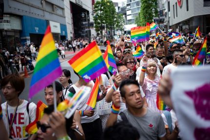 LGBT campaigners attend a Pride event in Tokyo, Japan