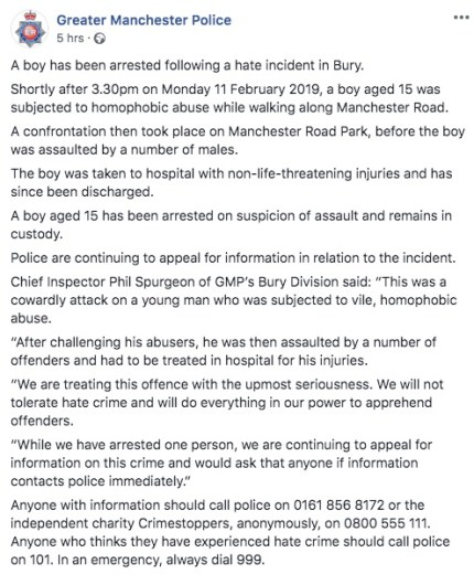 "Greater Manchester Police's statement over the ""homophobic"" attack"
