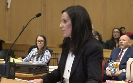 Prosecutor Kim Faitella speaks in court about a case involving Massachusetts police officer Carlos Vieira