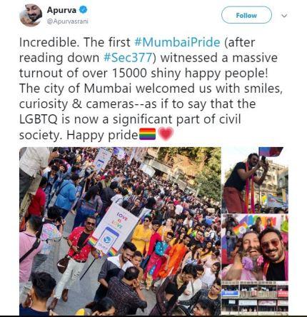 Mumbai hosts first pride since decriminalisation