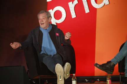 Sir Ian McKellen being interviewed by BBC Radio 4 presenter Evan Davis at National Student Pride in London