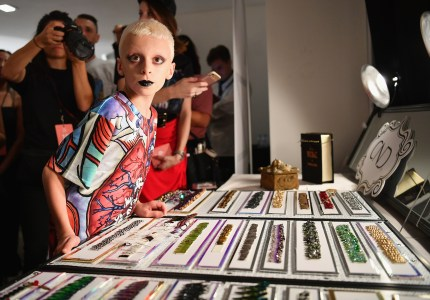 Desmond is Amazing star Desmond Napoles prepares backstage at Disney Villains x The Blonds September 2018 during New York Fashion Week: The Show Gallery I at Spring Studios on September 7, 2018 in New York City.