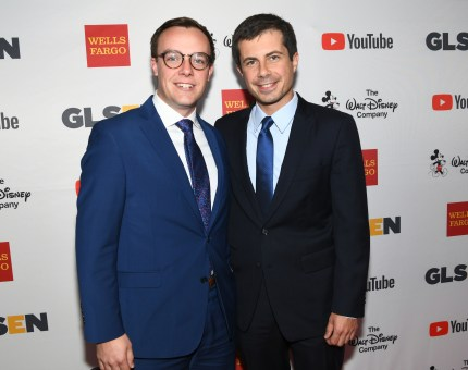 Chasten Glezman (L), and Mayor Peter Buttigieg at the 2017 GLSEN Respect Awards at the Beverly Wilshire Hotel on October 20, 2017 in Los Angeles, California.