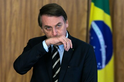 Brazilian President Jair Bolsonaro gestures during a ceremony of presentation of new diplomats' credentials at Planalto Palace in Brasilia, on March 8, 2019.