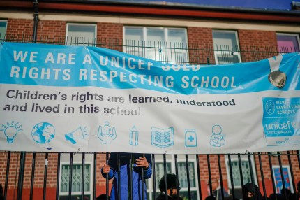 Parents, children and protesters demonstrate against the LGBT-inclusive education offered in the 'No Outsiders' programme at Parkfield Community School on March 21, 2019 in Birmingham, England.