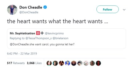 A tweet by Don Cheadle about the ship of Captain Marvel and Valkyrie endorsed by Brie Larson and Tessa Thompson.