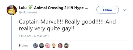 One of many tweets about how people thought Captain Marvel was gay.
