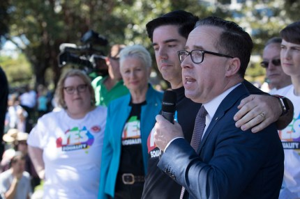 Gay Qantas CEO Alan Joyce and his partner Shane Lloyd after the 'Yes' announcement at Prince Alfred Park on November 15, 2017 in Sydney, Australia.