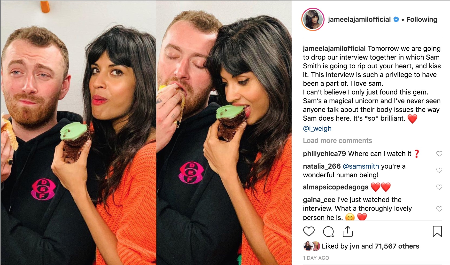 Jameela Jamil discusses her interview with Sam Smith