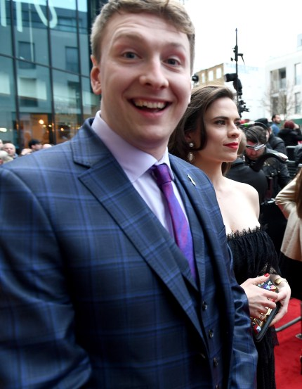 Actress Hayley Atwell (R) and Joe Lycett (L) attend the THREE Empire awards at The Roundhouse on March 19, 2017 in London, England.