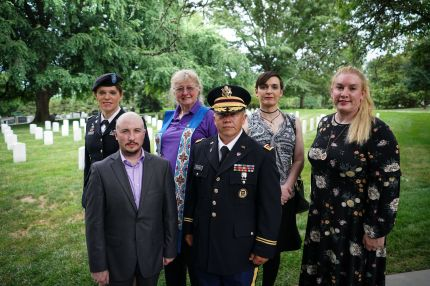 Transgender veterans joined to lay a wreath at the Tomb of the Unknown Soldier—a military ban would prevent openly transgender people from enlisting in the military.
