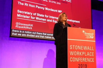 Secretary of State for International Development and Minister for Women and Equalities Penny Mordaunt speaks at Stonewall's Workplace Equality Conference
