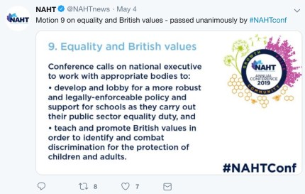 The motion the NAHT passed in support of clearer guidance on LGBT+ relationships education.