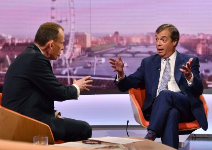 Leader of The Brexit Party Nigel Farage appears on The Andrew Marr Show on May 11, 2019 in London, England.