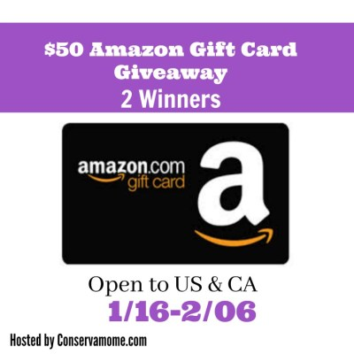 $50 Amazon Gift Card Giveaway {2 WINNERS | US & CA | Ends 02/06}